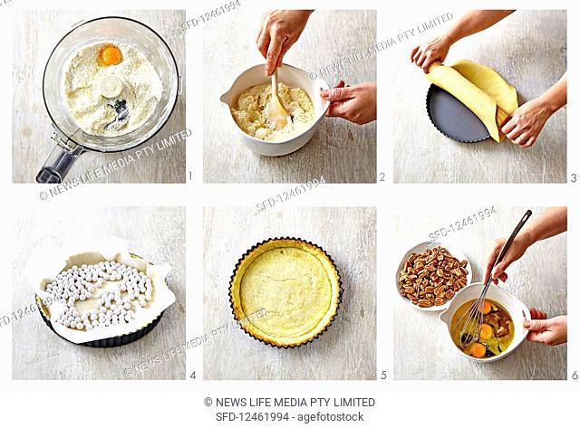 Preparing maple pecan pie with spiced rum ice-cream
