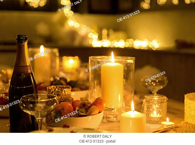 Champagne on candlelight table