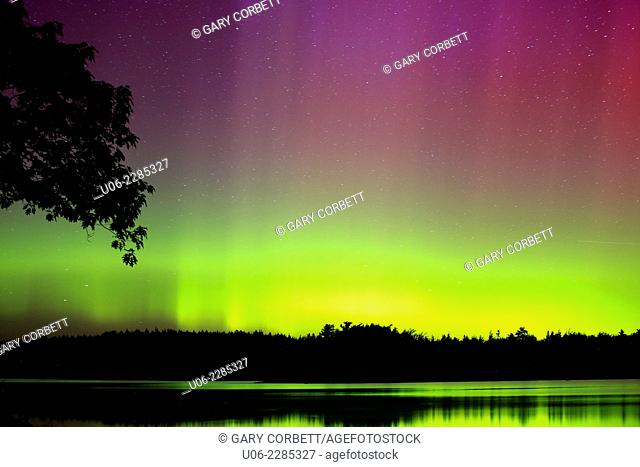 The northern lights or aurora borealis with reflections on lake water in northern Canada