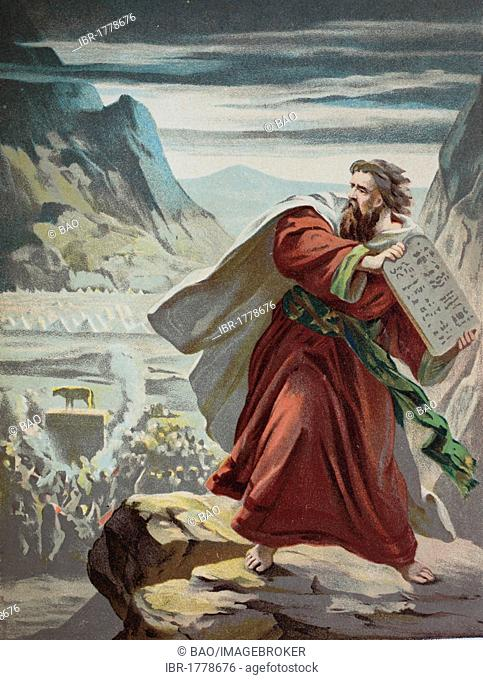 Moses breaking the tablets, chromolithograph from a home bible, 1870
