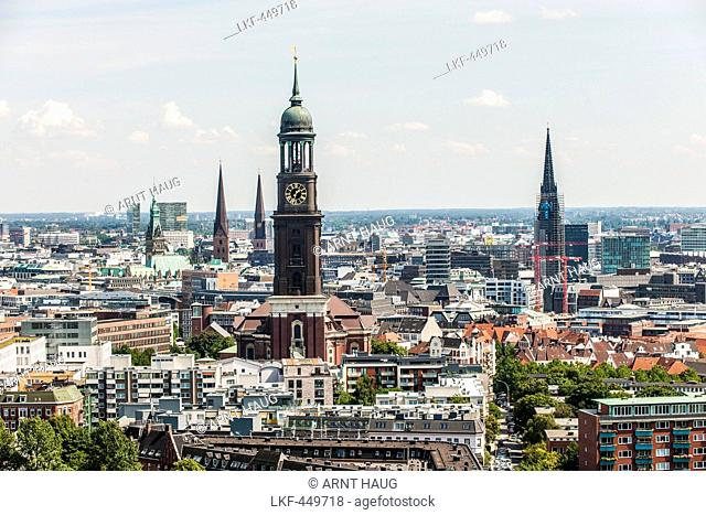 View to the St. Michael's church and other churches in Hamburg, Hamburg, Germany