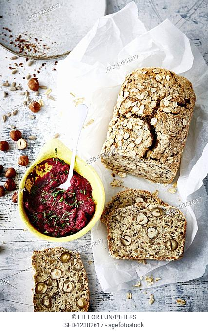 Protein bread with nuts and quark