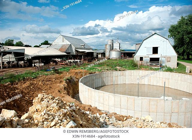 Dairy cow waste treatment structure on a farm near Smithsburg Maryland USA