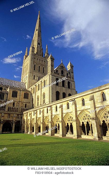 UK, England, Norfolk, Norwich Cathedral, primarily built 1096-1145: cloister lawn or 'garth', cloister, south transept, crossing tower and spire