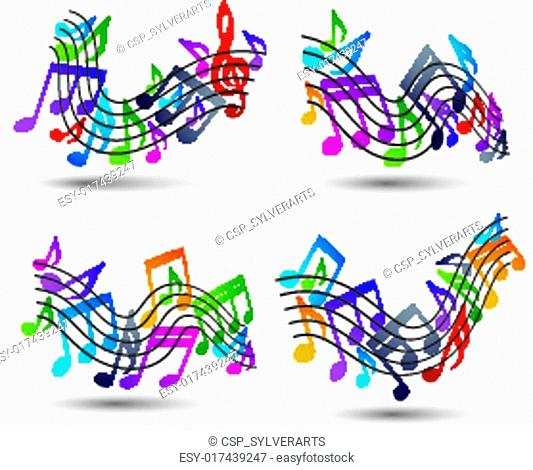 Bright jolly vector staves with musical notes on white backgroun