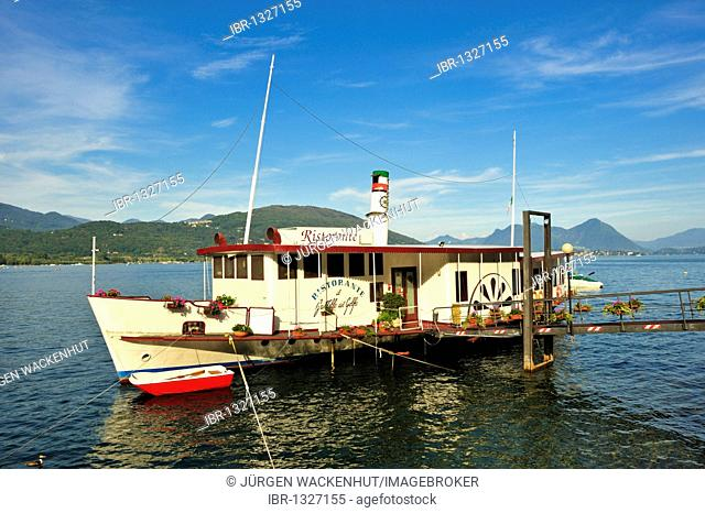 Paddle steamer as a ship restaurant, Feriolo, Lake Maggiore, Piedmont, Italy, Europe
