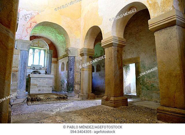 Interior of Pre-Romanesque church of San Salvador de Valdedios, Valdedios, Villaviciosa, Asturias, Spain