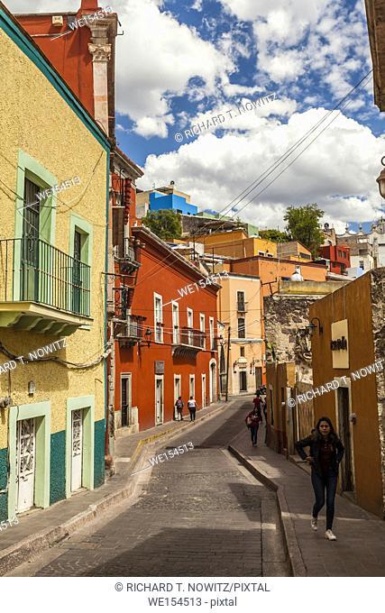 Street scene in the historic center of Guanajuato, Mexico