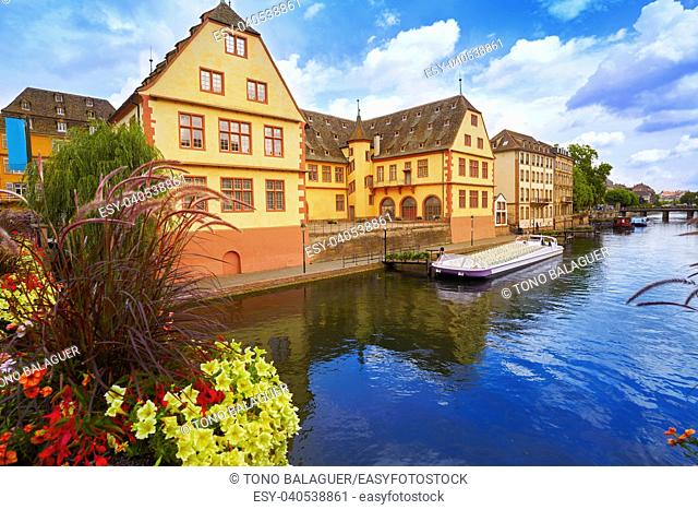 Strasbourg city facades and river in Alsace France