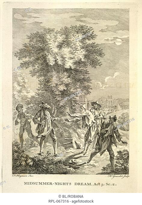 A scene from Midsummer Nights Dream. Nick Bottom with the head of an ass. Image taken from The Works of Shakespear. In six volumes