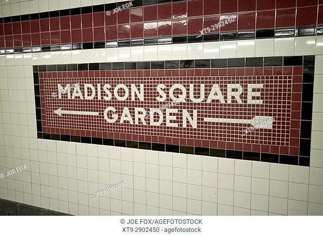mosaic old style subway station sign for madison square garden penn station New York City USA