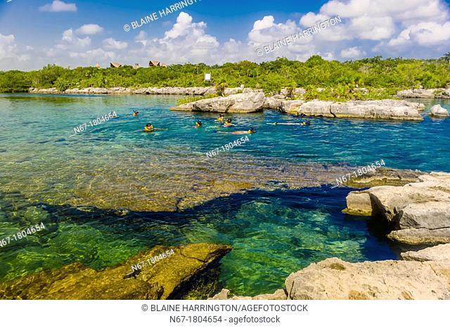 Snorkeling, The Caleta Yaku lagoon, near Riviera Maya, Mexico