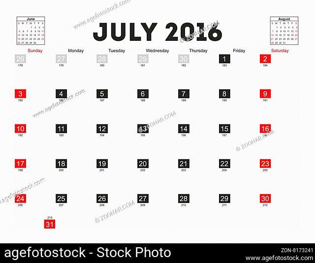 Vector planning calendar July 2016