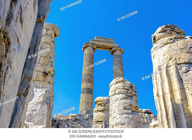 View of gorgeous marble column pillars at Temple of Apollo at Archeological area of Didim, Didyma, Aydin Province, Turkey, Europe