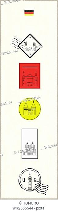 Stamps of landmarks in Germany