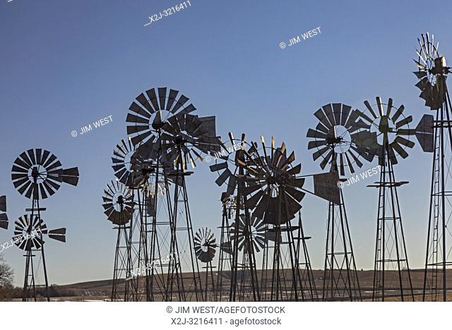 Merna, Nebraska - A collection of windmills at the Downey Well Company, a company that drills water wells