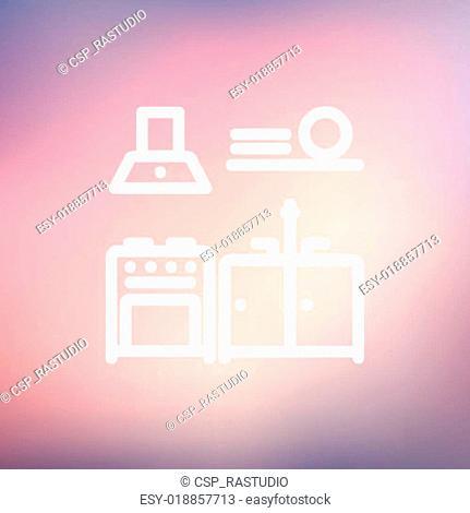 Kitchen interior thin line icon