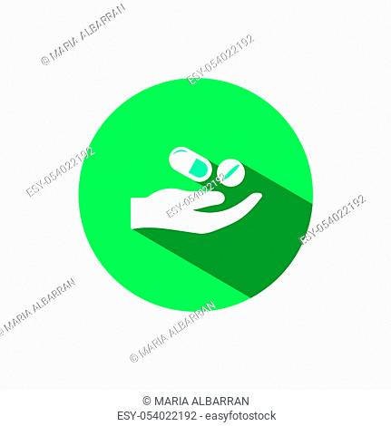 Hand and pills icon with shadow on a green circle. Flat color vector pharmacy illustration