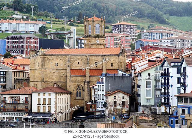 Getaria, San Salvador church, National Monument, Basque Country, Spain