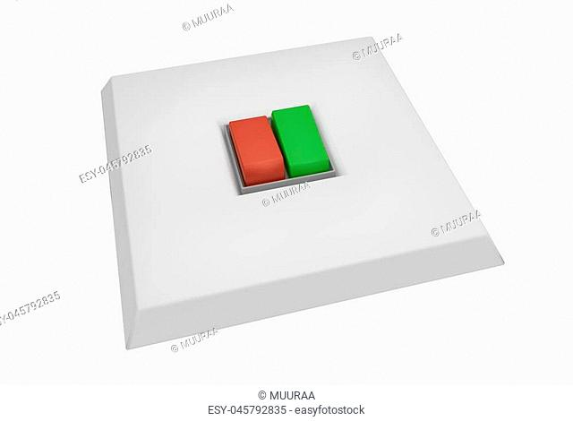 Classic color swithe for turn off or on the lights or control any other electrical device. 3D illustration