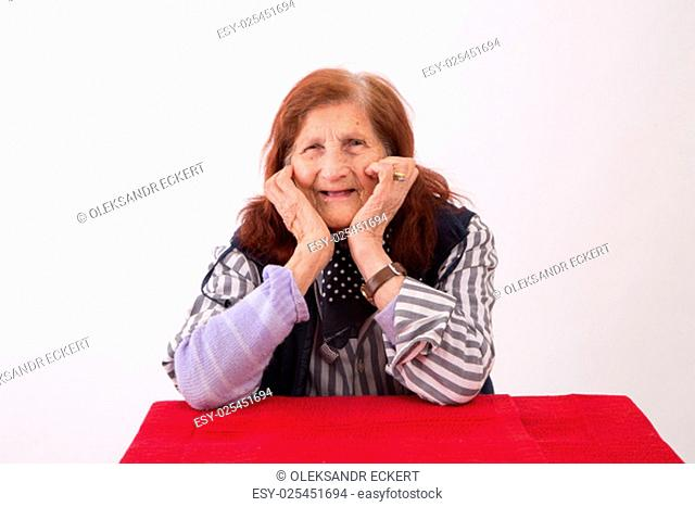 Portrait of an elderly woman with happy face expression