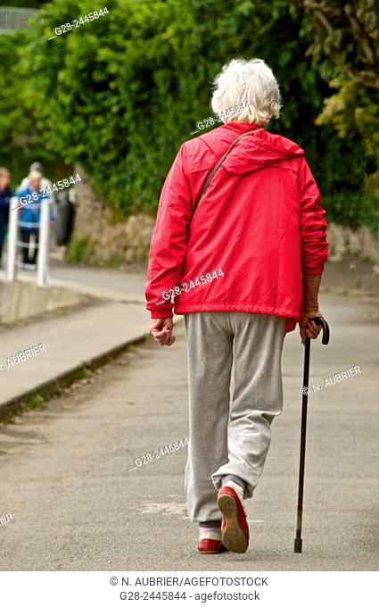 Senior woman with white hair, dressed in a red top beige slacks and sports shoes, walking with the help of a walking stick, seen from behind