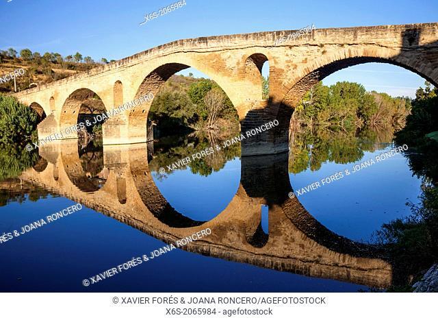 St. James way; the Romanesque Pilgrims' Bridge at Puente la Reina, Navarra, Spain