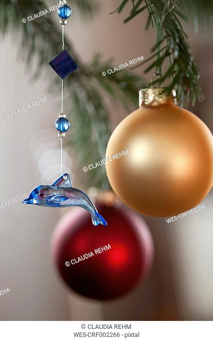 Christmas decoration with bauble, close up
