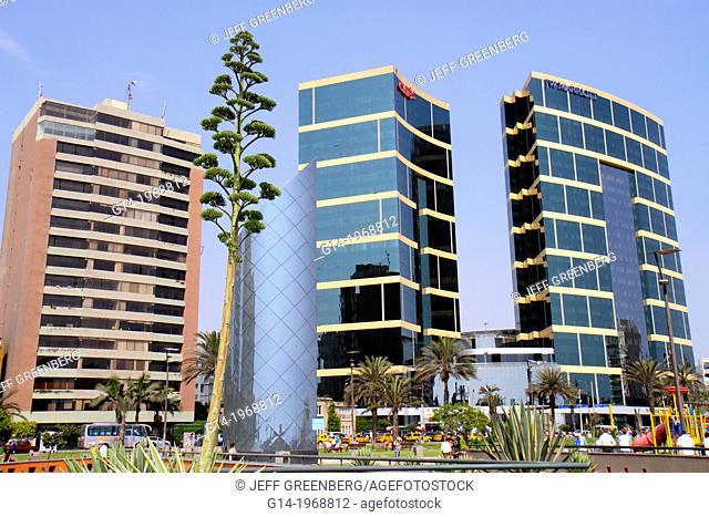 Peru, Lima, Miraflores, Malecon de la Reserva, Parque Salazar, urban park, JW Marriott, five-star hotel, chain, luxury, office tower, building, Arquitectonica