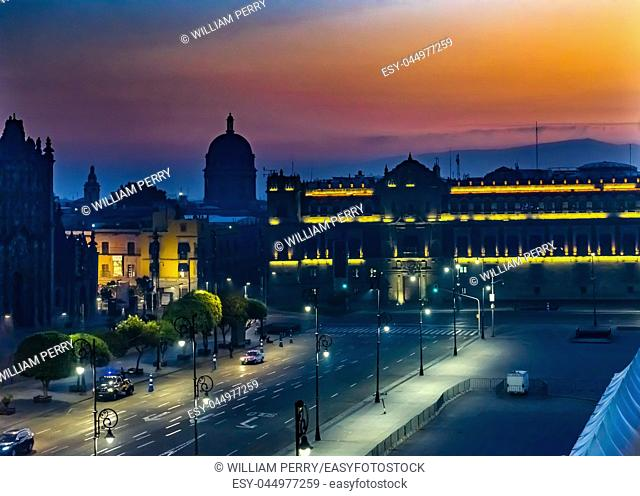 Zocalo Presidential National Palace Monument Sunrise Mexico City Mexico. Palace built by Cortez in 1500s. Balcony where Mexican President Appears