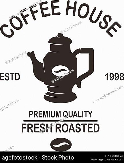 Coffee house emblem template. Design element for logo, label, sign, poster, flyer. Vector illustration