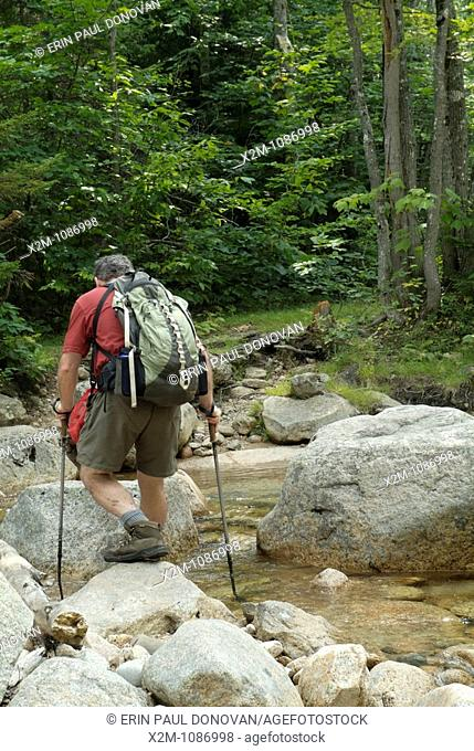 A hiker crosses a section of the Swift River on Sawyer River Trail during the summer months  Located in the White Mountains, New Hampshire USA
