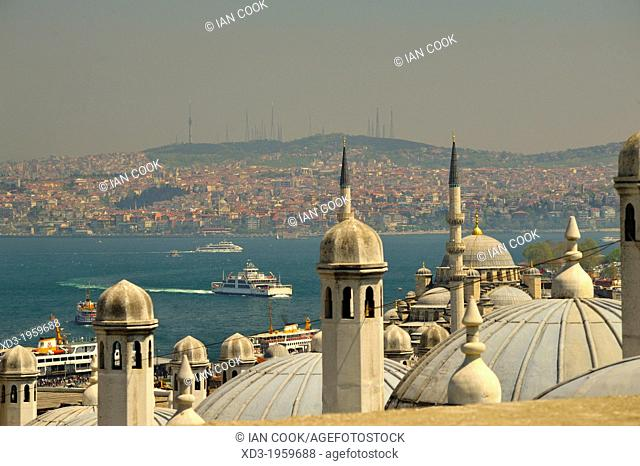 view across Bosporus to Asian side of Istanbul from Suleymaniye Mosque, Istanbul, Turkey