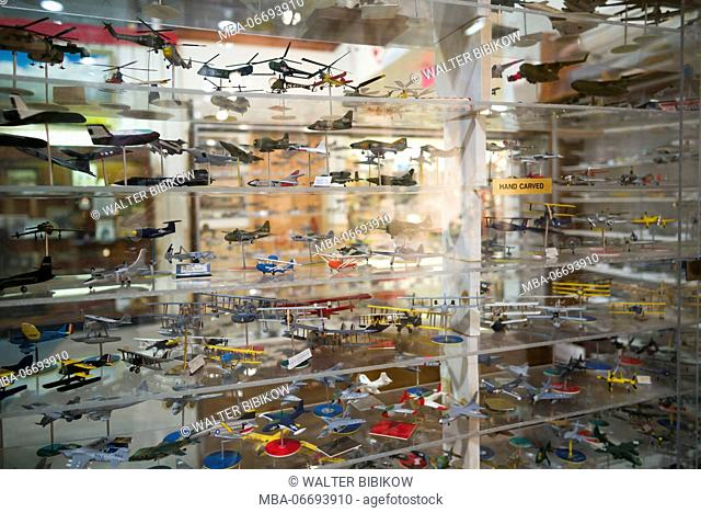 USA, New York, Finger Lakes Region, Hammondsport, Glenn H, Curtiss Museum, dedicated to early US aviation pioneer and resident Glenn Curtiss, model aircraft