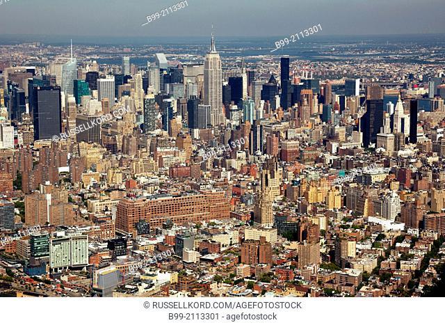 Aerial Midtown Skyline Hudson River Manhattan New York City Usa