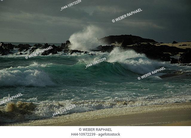 Ascension, Ascension Island, coast, sea, beach, seashore, sand beach, waves, evening, south west bay, bay, rock, cliff, breakwater