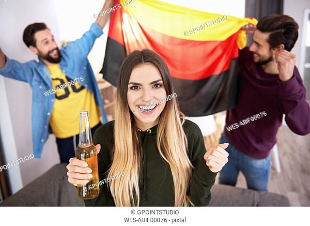Football fans with German flag celebrating
