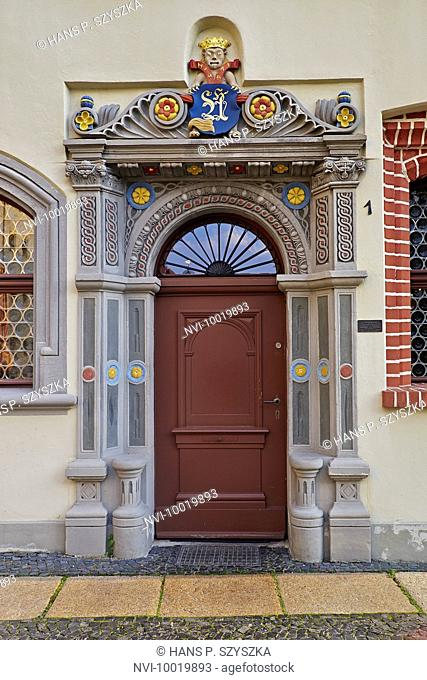 Portal of the house Langenstrasse 1 in Görlitz, Saxony, Germany