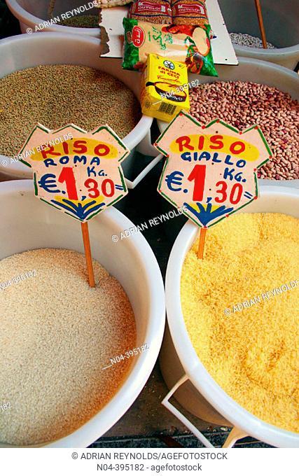 Rice, lentils and beans. Ballaro market. Palermo. Sicily. Italy