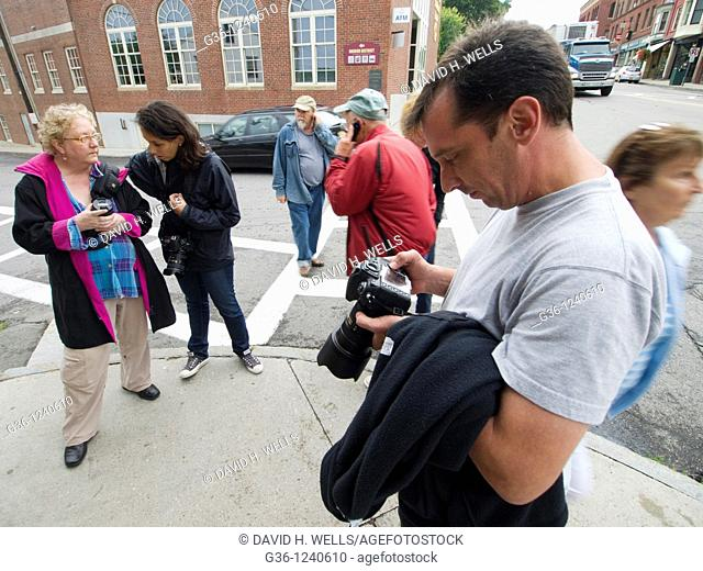 Photography workshop students at work in Camden, Maine, USA