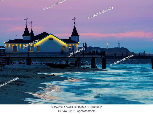 Ahlbeck pier in evening light, seaside resort Ahlbeck, Usedom Island, Mecklenburg-Western Pomerania, Germany
