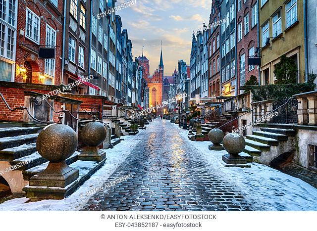 Mariacka Street of Gdansk, night winter view in Poland