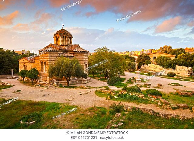 Greek church in the site of the ancient Agora in Athens, Greece.