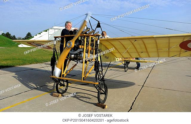 Bleriot XI monoplane replica is seen at airport in Pardubice, Czech Republic, April 16, 2015. The plane was performed a fly over the airport to commemorate 105...