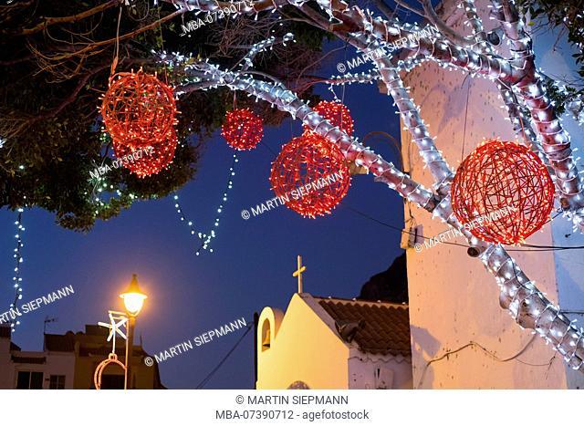 Christmas decoration in La Playa, Valle Gran Rey, La Gomera, Canary Islands, Canary Islands, Spain