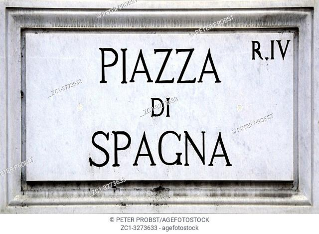 Street sign the Piazza di Spagna in Rome - Italy. .