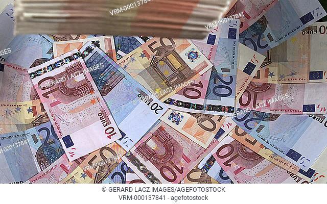 Euros Bills Falling, Slow motion