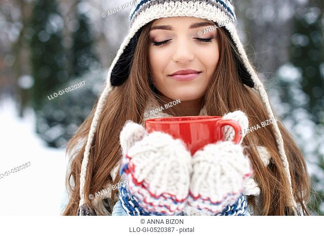 Smell of hot chocolate in winter is great. Debica, Poland