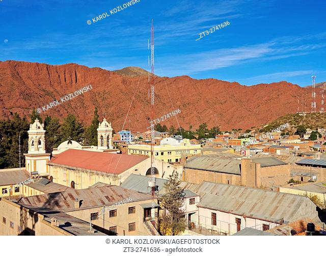 Bolivia, Potosi Department, Sud Chichas Province, Tupiza, Elevated view of the Nuestra Senora de la Candelaria Cathedral