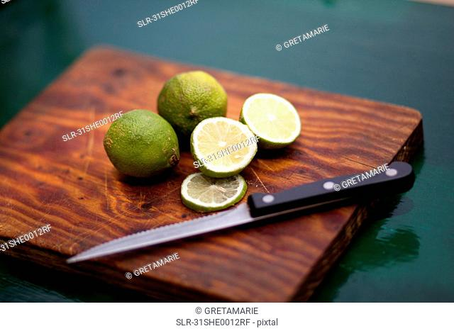 Lime on wooden board